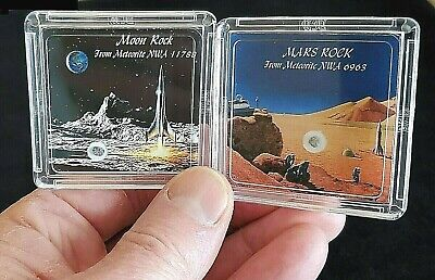 2 COLLECTOR  EDITIONS - AUTHENTICATED MOON & MARS ROCK METEORITE DISPLAYS+Easels