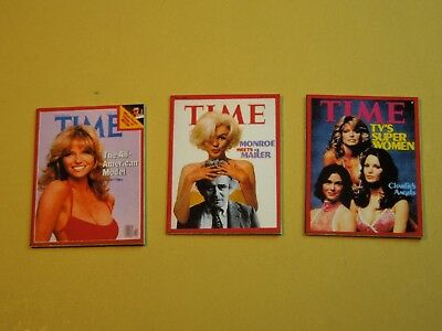 "Dollhouse Miniature 1"" 1/12 Scale Set of 3 TIME Magazine Issues w/ Cover Girls"