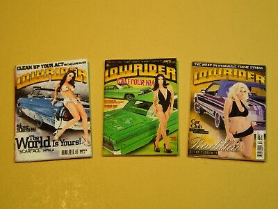 "Dollhouse Miniature 1"" 1/12 Scale Lowrider Magazines - set of 3 Issues"