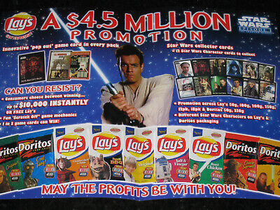 Lay's Chips Star Wars Advertising Promotional Retailer fold out flyer 1999