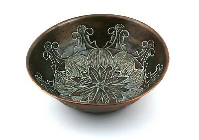 Early 20th C. Arts & Crafts Copper Bowl Repousse 15.5 cm