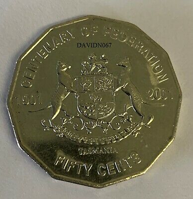 2001 Circulated 50c Coin Centenary of Federation.Tasmania. Low Mintage. Scarce.
