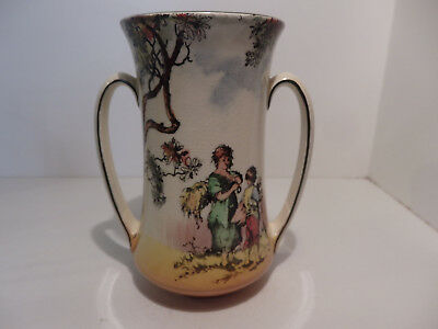 "Royal Doulton Old English Scenes The Gleaners Two Handle Vase 5 1/4"" D6123"