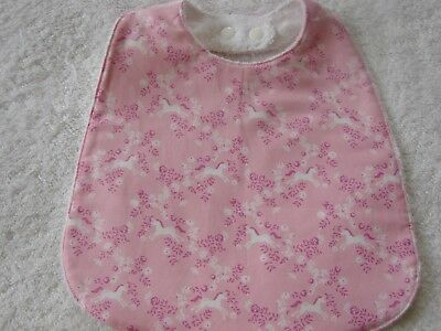 Ponies Pink Baby Bib Cotton Front Towelling Back Handmade