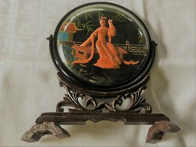 Rare signed vintage Chinese carved and painted picture and mirror on a stand