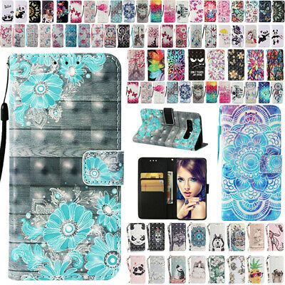 For Samsung Galaxy S10 S10Plus S10e Patterned Flip Leather Card Slots Case Cover