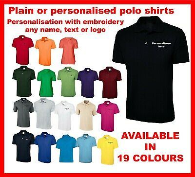 Personalised polo shirts Custom Embroidered with your text name or logo