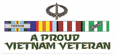 Proud Vietnam Veteran Ribbons Sticker With Icb Laminated Vinyl Sticker 75X165Mm