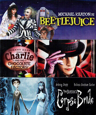 Beetlejuice / Charlie and the Chocolate Factory / Corpse Bride BLU-RAY NEW