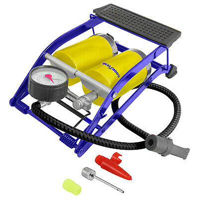 Goodyear Double Barrel Tyre Air Inflator Cylinder Foot Pump with Pressure Gauge