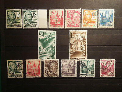 Germany, 1947-49 Wurtemberg, french occup. zone, 14 stamps, MNH, MH, used