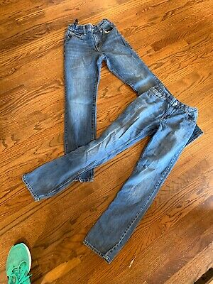3b3b2d995 LOT of 2 Old Navy Boys Skinny Fit Jeans With Adjustable Waist Tabs (Size 14