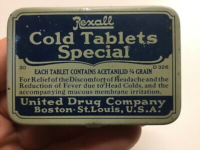 Vintage Rexall Cold Tablets Special Advertising Tin United Drug Company