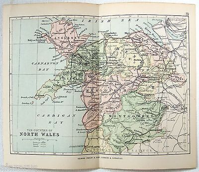 Philips 1891 Map of The Counties of North Wales