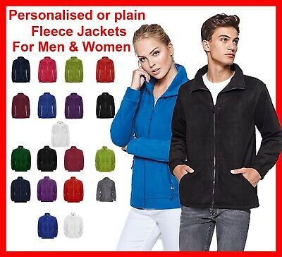 Personalised Embroidered men's and women's Fleece Jacket Any Custom Text Logo
