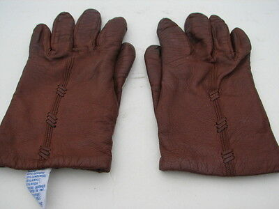 **Fownes Ladies Chocolate Brown Leather Gloves Cashmere & Wool Knit Lining Sze 7