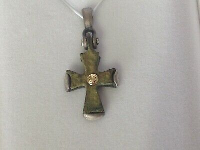 Byzantine  bronze cross with Sterling silver,18kt yellowgold.Cert of Authenticit