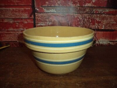 """Antique Primitive Farm Rustic STONEWARE Yellow ware Blue Banded 7"""" Mixing Bowl"""
