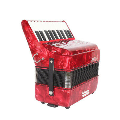 22-Key 8 Bass Piano Accordion w/ Straps Music Instrument for Students Red U4X0
