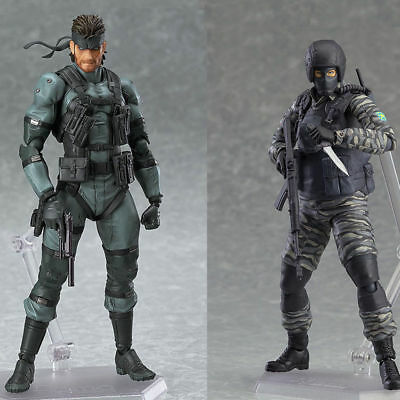 Metal Gear Solid Figma 243 & 298  Snake & Solider MGS PVC Figures 16cm chn ver