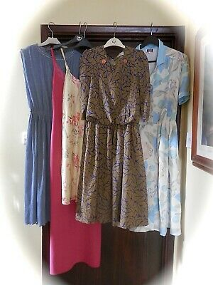 job lot vintage dresses x 5  80s dress tea new wave floral 90s body con