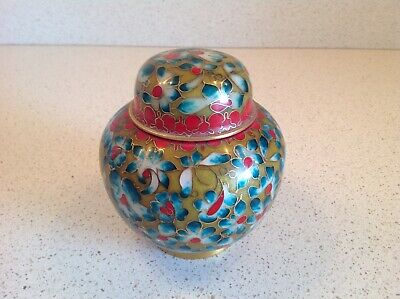 Chinese Cloisonné Antique Vintage red and teal