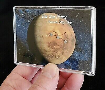 MUSEUM EDITION- AUTHENTICATED MARS METEORITE- 3 Mars Rocks- Jumbo Display+Easel