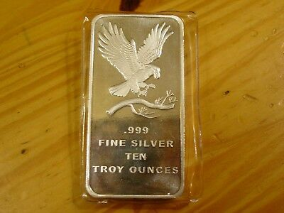 10 Troy Oz Silvertowne Eagle Bar, 10 Troy Ounces Of .999 Fine Silver Total