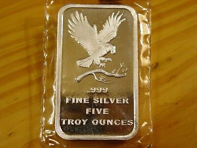 5 Troy Oz Silvertowne Eagle Bar, 5 Troy Ounces Of .999 Fine Silver Total