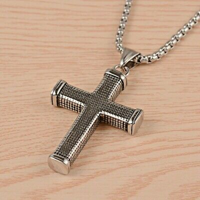 Stainless Steel Cross Pendant Large With 70 cm Stainless Steel Chain
