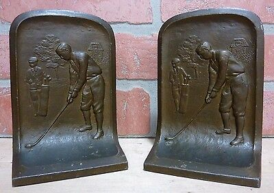 Antique GOLFER BOOKENDS Cast Metal Caddy Landscape Scene Trees Country Club