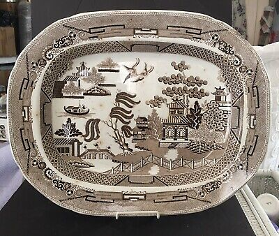 "RARE HUGE Antique BROWN WILLOW TRANSFERWARE Ironstone 20"" PLATTER Staffordshire"