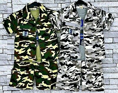 Boys Army Camouflage 3 Piece Zip Jacket Vest Top & Shorts Outfit Set 2 to10 Year