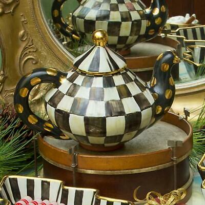 Mackenzie Childs Ceramic Courtly Check Teapot ~ NEW WITH TAGS ~ GREAT GIFT ~