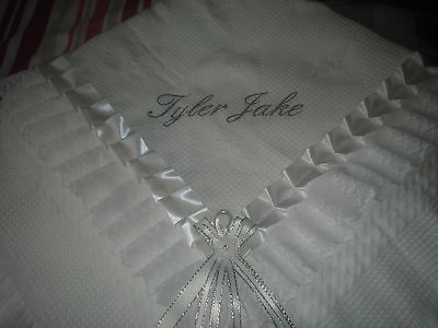 beautiful WHITE bebo baby christening shawl **NEW** PERSONALISED birth, baptism.