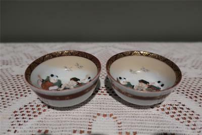Oriental Hand Painted Small Gilt Saki / Tea Bowls - Elder With Children - Vgc