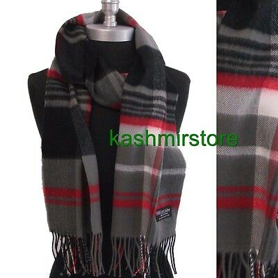 b240660d2d001 Men 100% CASHMERE SCARF SCOTLAND PLAID Check Gray Red black SOFT Warm Wool  Wrap