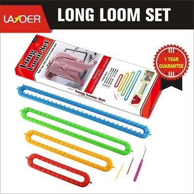 LAYOER 4PC Long Knitting Loom Set with Hook Needle Kit for Yarn Cord Knitter