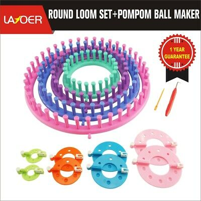 LAYOER Round Knitting Loom Set Pompom Ball Makers Needle Hook Circle Hat Looms