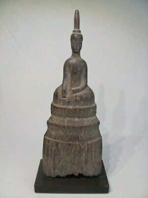 Antique Thai Seated Wood Buddha Figure