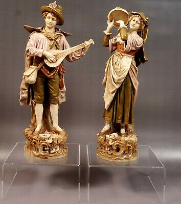 ROYAL DUX Before WWI ANTIQUE Bohemia Couple Musicians Figurines