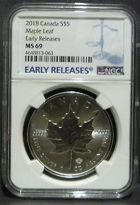 2018 Canada 1oz Silver Maple Leaf NGC MS69 Early Releases - Blue Label