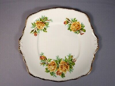 Royal Albert Yellow Tea Rose Bone China Cake Sandwich Serving Dish Tray Platter