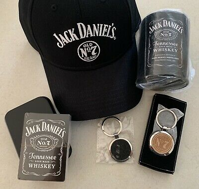 Jack Daniels Limited Edition Key Rings,hat, Stubby Holder & Playing Cards