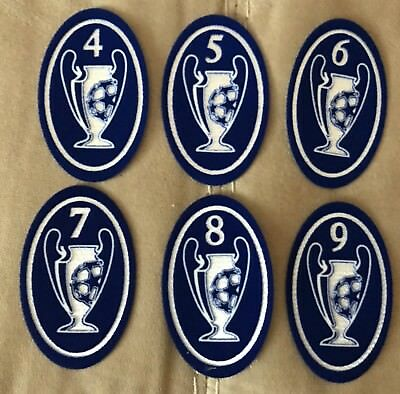 TOPPA LEXTRA UEFA CHAMPIONS LEAGUE PATCH TROPHY 4 5 6 7 8 9 Milan Real  Madrid 49e850191