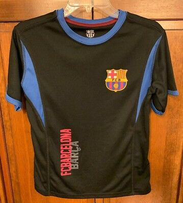 643e3cb4c FC Barcelona FCB Boys L Training Shirt BARCA Football Soccer Jersey Black  Blue