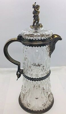 George Fox Antique English Victorian Sterling Silver & Glass Carafe Pitcher Jug