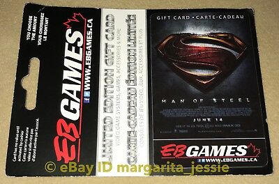 """Eb Games Canada Limited Edition Gift Card """"superman: Man Of Steel""""  No Value New"""