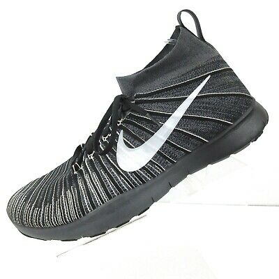 quality design bf7ce 2a7f9 NIKE Free Train Force Flyknit Sneakers Black White 833275-017 Mens Size 15