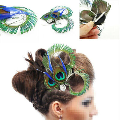 1/2X Peacock Feather Fascinator Hair Clip Wedding Party Vintage Headpiece Gifts